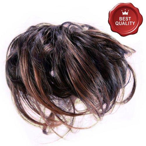 53-401-04 - elastico capelli sintetici con méches colore marron glacè - aspetto naturale - diametro cm 15 circa e lunghezza ciuffi fino a 14 cm - elastici fermacoda extension (méches marron glacé)
