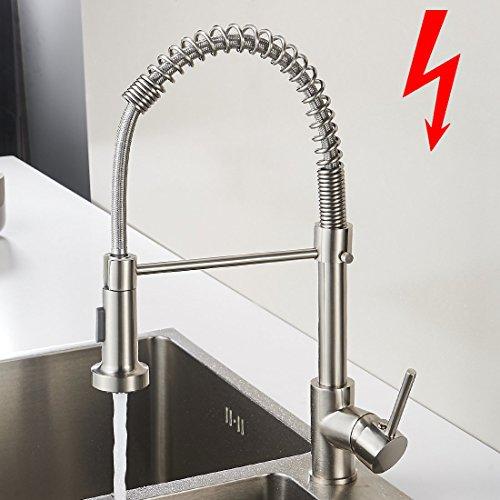 Aimadi Niederdruck Mischbatterie Küchenarmatur Wasserhahn 360° drehbar Armatur Küche Spiralfederarmatur Küchenspüle Geschirrbrause Spültischarmatur Gebürsteter Nickel