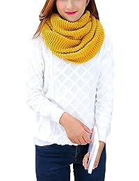 iShine Mode Echarpe Tricoté Tube Foulard Tubulaire Echarpe en Tour au Cou  pour Femme Fille Cache-col Unicolore… ee000678e65