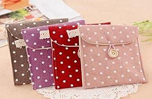 OVVO Sanitary Pad Bag 3 Pcs Portable Polka Dot Cotton Sanitary Napkin Organizer Holder Coin Pouch Buckles Bags