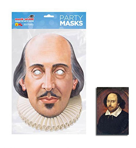 William Shakespeare Single Karte Partei Gesichtsmasken (Maske) Enthält 6X4 (15X10Cm) starfoto