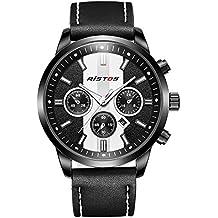 Ilove EU Hombre Reloj de pulsera Sport Reloj analógico de cuarzo piel lujo 30m Resistente al agua LED de luz Fecha Blanco Negro whlss011–1