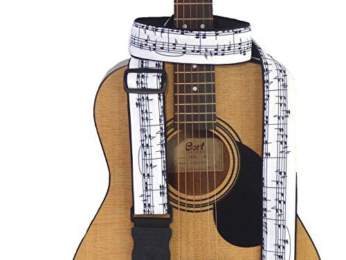 Note musicali Tracolla per chitarra. Bianco e nero. Fatto a mano accessori per Tutti i Tipi di chitarra. Tedesco Genius in pelle. Durable cloth. codice 00312