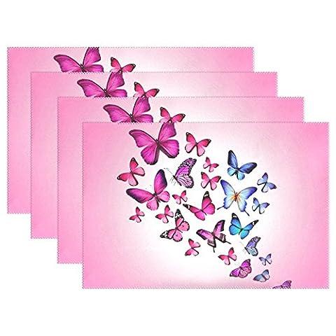 Rose Papillons Impression Sets de table, sets de table Coosun résistant à la chaleur résistant aux taches anti-dérapant Sets de table en polyester Lavable antidérapant facile à nettoyer Sets de table, 30,5x 45,7cm, Lot de 4, Polyester, multicoloured, 12x18x6 in