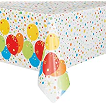 Unique Party 58213Lámina para pelotas de feliz cumpleaños de plástico mantel