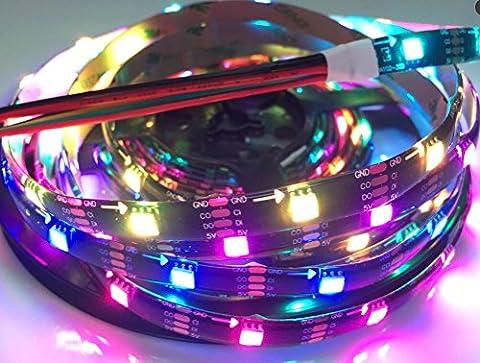 16.4ft 150 Pixel APA102 RGB LED Flexible Streifen Licht Individuell ansprechbar Traumfarbe Wasserdicht IP65 Schwarz PCB DC (500 Pixel Weihnachten)