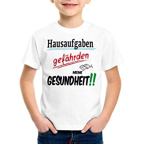 CottonCloud Hausaufgaben gefährden meine Gesundheit!! T-Shirt für Kinder Sprüche Gag Fun, Farbe:Weiß;Größe:140