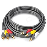 CNCT Composite Cable 2 M - 3 Pin RCA Cable Male to Male 6.6 ft - Suitable for Display - Monitor - LCD - LED - TV with Composite AV Port from Sony - Samsung - Panasonic - Viewsonic - Acer - LG - Sanyo - Phillips - Asus - Acer
