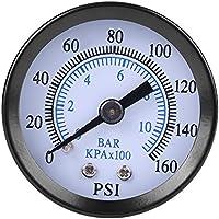 """Mini medidor de presión hidráulico de doble escala, neumático y hidráulico para combustible de aire de agua 0 – 160 psi/0 – 10 bar de rosca NPT de 1/8"""""""