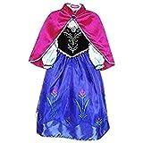 Vestido de princesa Live It Style IT, disfraz de reina del hielo, de fiesta, inspirado en Anna Elsa Anna2 9-10 Años