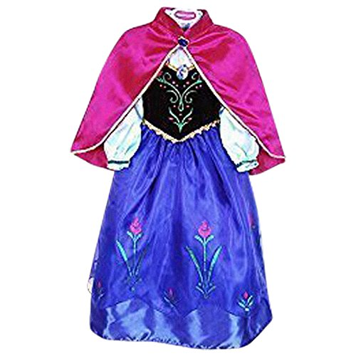 Live It Style IT Prinzessinnenkleid Cosplay Kostüm Eiskönigin Party Anna Elsa inspiriert - ANNA2, 9-10yrs