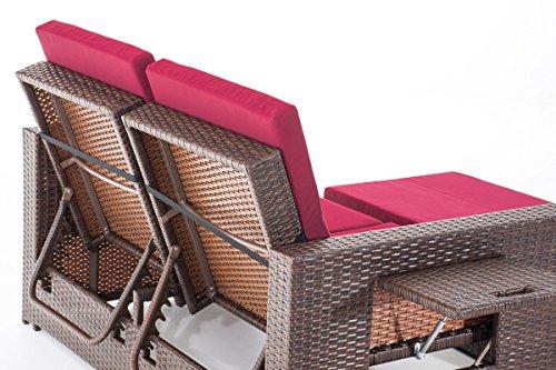 CLP Poly-Rattan 2er Lounge-Sofa ANCONA, ALU-Gestell, Fußteil ausziehbar, flexibel verstellbar, 7 Farben + 2 Rattan Stärken wählbar Rattan Farbe braun-meliert, Stärke 1,25 mm, Bezugfarbe: Rubinrot - 5