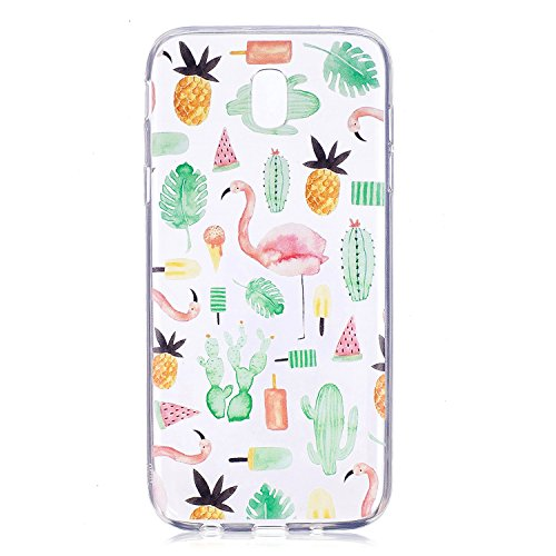 Felfy Clair Coque Samsung Galaxy J5 2017 J530,Étui Samsung J5 Transparent,Galaxy J5 2017 Etui en Silicone Housse de Protection Souple Silicone TPU Case Ultra-Thin Léger Protecteur Cover,Flamingo