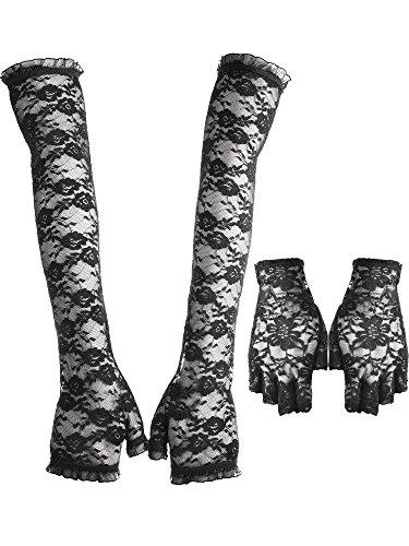 Spitze UV Schutz Handschuhe, 1 Paar fingerlose Lange Arm Spitze Handschuhe und 1 Paar halbe Finger Spitzen Handschuhe der 1980er Jahre Kostüm Lace Floral Handschuhe für Henne-Nächte, Halloween, Prom, (Die 1980er Jahre Kostüme)