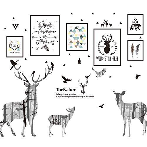 Wandaufkleber Sticker Nordic Ins Wind Wohnzimmer Hintergrund Wand Schlafzimmer Tapete Selbstklebende Dekoration Elch Bilderrahmen - Elch Bilderrahmen
