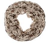 AdoniaMode Damen Loop Schlauch-Schal Hals-Tuch luftig leicht Blumenbeet Muster 72-06 Braun/Beige