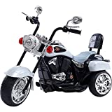 #6: GetBest 3 Wheel Speedy Kids Battery Operated Ride on Bike with Tail Light, White