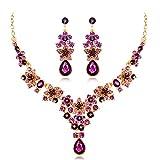 Scrox 2pcs Boda Juego de Joyas Mujeres Moda Temperamento Novia Joyería Conjunto Brillante Forma de la Flor Rhinestone Cristal Colgante Collar Pendientes (Púrpura)