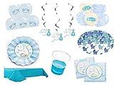 Partydekoset Babyparty Baby Shower Junge blau für 10 Personen Pullerparty Baby Geburt Babyparty Komplettset Tischdeko Party Geschirr