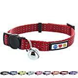 Pawtitas Collar Reflectante con Hebilla de Seguridad y Collar de Gato con Campana Desmontable Collar de Gatito Rojo Collar de Gato
