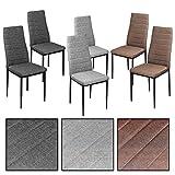 ESTEXO Esszimmerstühle wählbar - Stuhl Stühle 2/4/6/8 St. Küchenstuhl Essstuhl Essgruppe (6 Stück, Hellgrau)