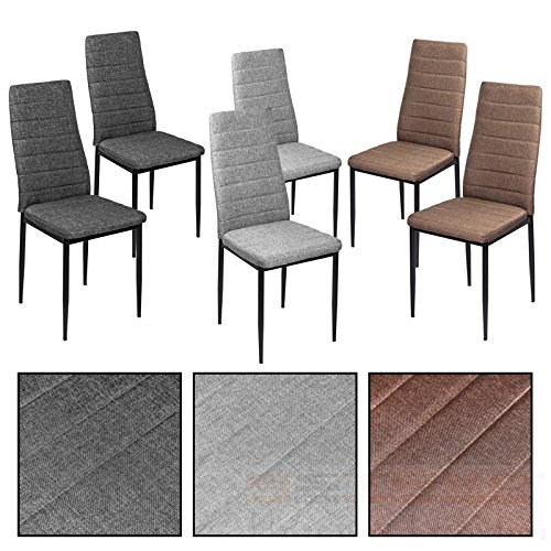 ESTEXO Esszimmerstühle wählbar - Stuhl Stühle 2/4/6/8 St. Küchenstuhl Essstuhl Essgruppe (2 Stück, Dunkelgrau)