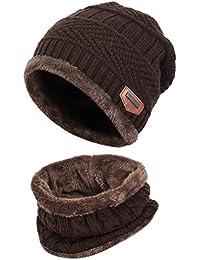 Vbiger Wintermütze Warm Beanie Strickmütze und Schal mit Fleecefutter