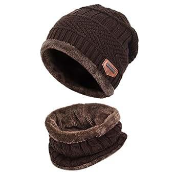Vbiger Cappello Uomo invernale Berretto Uomo in Maglia con sciarpa (Caffè)