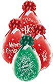 DeCoArt... Set Preis 2 Geschenkeballons Stufferballons Weihnachten Diverse Motive ca. 45 cm naturell ohne Schleife ungefüllt und 10 Kleine Latexballons ca 13 cm Perl farbig Sortiert