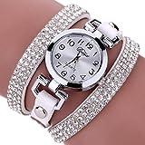 LSAltd Damen Art und Weisediamant-Verpackung Um Uhr Lederoid Quarz Armbanduhr (Weiß 2)