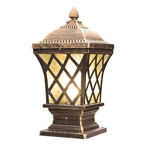 Solar-licht-spalte (MMJ Outdoor Landschaft Lichter-Europäischen Retro Industrie E27 Outdoor Spalte Lampe Wasserdichte Garten Rasen Spalte Scheinwerfer Garten Villa Tür Laterne Lampe (Farbe : Messing))