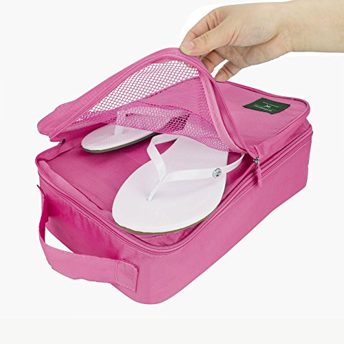 Reise Schuh Tasche mit Fächer von shinap®: Elegant-Reise Storage Bags, ob es Schuhe, Kosmetik, Handtücher oder anderen gemeinsamen Reiseutensilien, diese kleinen, leicht und stilvoll rechteckig, sind, rot - rot