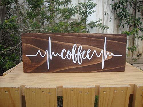 PotteLove Kaffeeschild, Herzschlag-Schild Kaffee-Bar, Kaffee-Geschenk, Einweihung