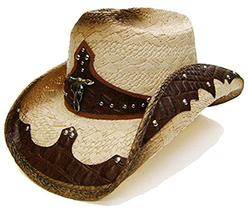 modestone-unisex-straw-cowboy-hat-bull-head-brown-beige