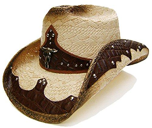 modestone-unisex-straw-sombrero-vaquero-bull-head-brown-beige