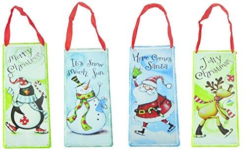 Confezione da 4–festive placche mostrando personaggi assortiti festive–decorazioni natalizie–albero