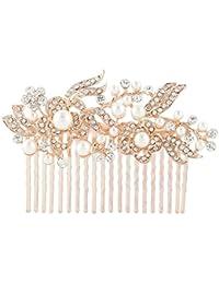 EVER FAITH® - Cristal Gatsby Inspirado Color Marfil Perla Simulada Peineta de Pelo - Claro-20-Dientes-Rosa-Oro-Tono