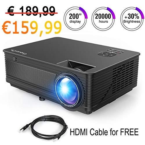 ExquizOn Beamer Heimkino 3500 Lumen Video Projektor, M5, 1280x800 unterstützt 1080P Full HD, HDMI USB VGA AV Multimedia für Smartphone PS4 Xbox TV Box iPad Laptop (schwarz)