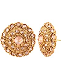 AccessHer Ethnic Handcrafted Antique Gold Round Stud Earring For Women