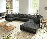 DELIFE Couch Clovis modular - Ecksofa, Sofa, Wohnlandschaft & Modulsofa (Schwarz/Schwarz, Sofa XL mit Hocker)