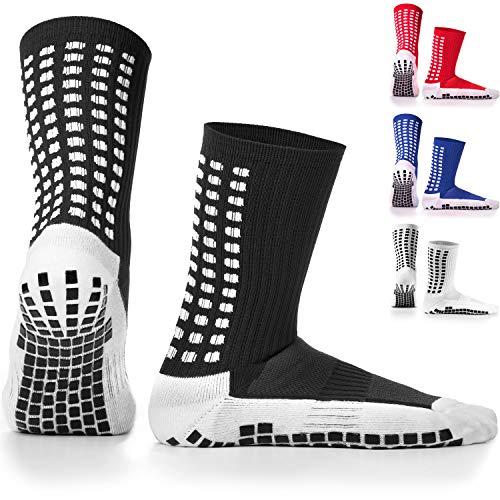 LUX Rutschfeste Fußball Socken, rutschfeste Sport Socken, Gummi-Pads, trusox/tocksox Style, Top Qualität, Basketball, Fußball, Wandern, Laufen, hier in weiß, schwarz, rot, blau Blau blau UK 5.5 - 11 (schwarz - schwarz)