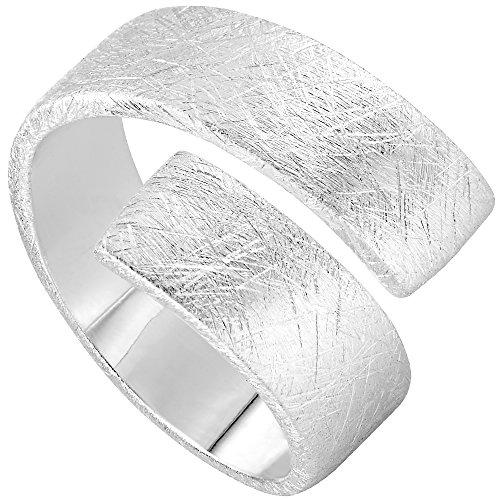 Vinani Ring Design Bandring massiv gebürstet anpassbar Sterling Silber 925 Größe 54 (17.2) 2RSS-54