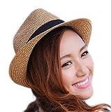 Qingsun Herren Frauen Jazz Hut Sonnenhüte Strohhut Strandhut Sonnenschutz Anti-UV Sommer