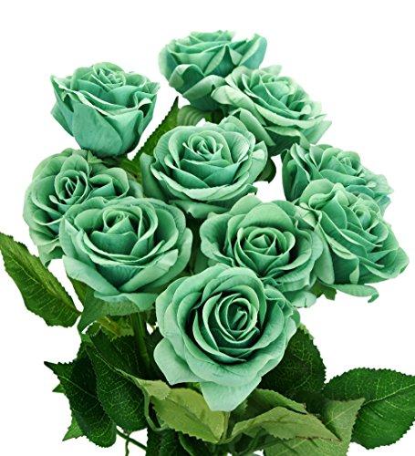FiveSeasonStuff 10 Vorbauten von Green Real Touch Fühlen Sich Frisch Wie Rosen Künstliche Blume Bouquet für Hochzeit Braut Büro Party Home Decor