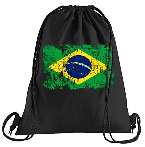 T-Shirt People Brasilien Vintage Flagge Fahne Sportbeutel - Bedruckter Beutel - Eine schöne Sport-Tasche Beutel mit (Brasilien Kostüme Für Karneval)