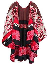 Leana Collection Femme Châle Poncho Cape Fleur Cardigan Manteau Écharpe  Couverture Foulard Epaisse Chaude Hiver Grand a4a149fee3b