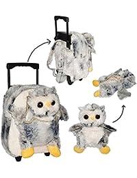 3 in 1: Trolley + Rucksack + Kuscheltier - EULE für Kinder - Tiere Trolly Kindertrolley - Kindertrolly Plüsch Reiseset / Eulen - für Mädchen & Jungen - Reise Flugreise