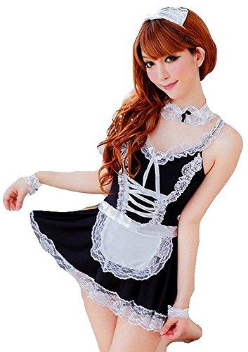 krautwear Zimmermädchen Kostüm Sexy Outfit Dessous Cosplay Fasching Mehrteilig Maid Schürze Armband Haarreif String Strumpfband (121)