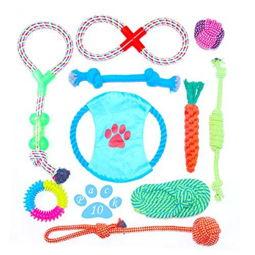 Himeland 10x Langlebig Pet Seil | Interaktives Hundespielzeug Set aus natürlichen hochwertigen Baumwollfasern | Baumwolle Ball für Hunde und Welpen