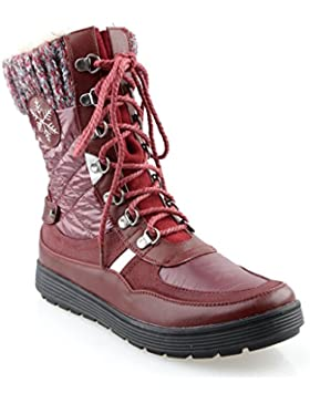 Eyekepper delle donne di conforto rotonda pelliccia Toe Allineato Boots Lace Up Zipper Stacked piano neve della...